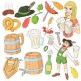 Ícones ajustados, estilo de Octoberfest dos desenhos animados ilustração royalty free