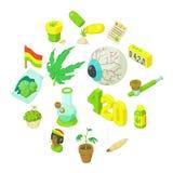 Ícones ajustados, estilo de Rastafarian dos desenhos animados Imagens de Stock