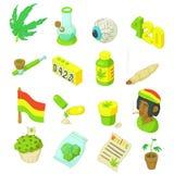 Ícones ajustados, estilo de Rastafarian dos desenhos animados Fotografia de Stock Royalty Free