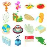Ícones ajustados, estilo de Singapura dos desenhos animados ilustração royalty free