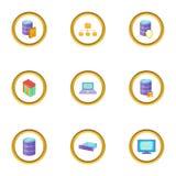 Ícones ajustados, estilo de transferência de dados dos desenhos animados Imagem de Stock Royalty Free