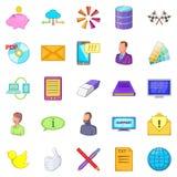 Ícones ajustados, estilo de transferência de dinheiro dos desenhos animados Imagem de Stock