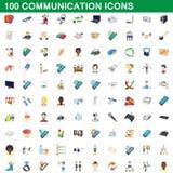 100 ícones ajustados, estilo de uma comunicação dos desenhos animados ilustração do vetor