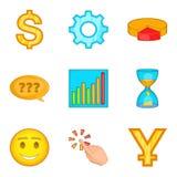 Ícones ajustados, estilo do abastecimento monetário dos desenhos animados Fotografia de Stock Royalty Free