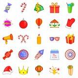 Ícones ajustados, estilo do abrandamento dos desenhos animados Imagens de Stock Royalty Free