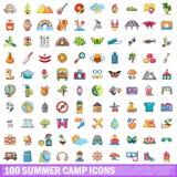 100 ícones ajustados, estilo do acampamento de verão dos desenhos animados ilustração do vetor