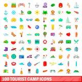 100 ícones ajustados, estilo do acampamento do turista dos desenhos animados ilustração do vetor