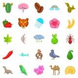 Ícones ajustados, estilo do ambiente dos desenhos animados Foto de Stock Royalty Free