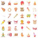 Ícones ajustados, estilo do animal de circo dos desenhos animados Imagens de Stock Royalty Free