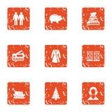 Ícones ajustados, estilo do ano do feriado do grunge ilustração do vetor