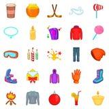 Ícones ajustados, estilo do ano novo dos desenhos animados Foto de Stock Royalty Free