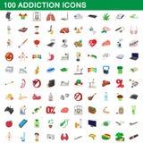100 ícones ajustados, estilo do apego dos desenhos animados ilustração do vetor