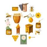 Ícones ajustados, estilo do apiário dos desenhos animados Imagens de Stock