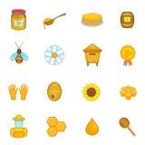 Ícones ajustados, estilo do apiário dos desenhos animados Foto de Stock