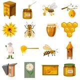 Ícones ajustados, estilo do apiário dos desenhos animados Imagem de Stock