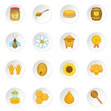 Ícones ajustados, estilo do apiário dos desenhos animados Fotografia de Stock