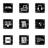 Ícones ajustados, estilo do aprendizado de línguas do grunge ilustração stock