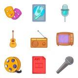 Ícones ajustados, estilo do arranjo musical dos desenhos animados Fotos de Stock Royalty Free