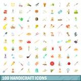 100 ícones ajustados, estilo do artesanato dos desenhos animados ilustração stock