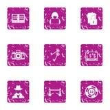 Ícones ajustados, estilo do ataque do hacker do grunge ilustração stock