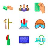 Ícones ajustados, estilo do ato ilegal dos desenhos animados ilustração royalty free