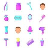 Ícones ajustados, estilo do barbeiro dos desenhos animados Imagens de Stock