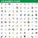 100 ícones ajustados, estilo do barbeiro dos desenhos animados Foto de Stock