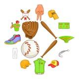 Ícones ajustados, estilo do basebol dos desenhos animados Fotos de Stock