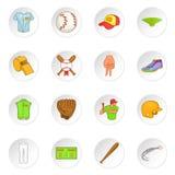 Ícones ajustados, estilo do basebol dos desenhos animados Imagem de Stock Royalty Free