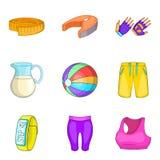 Ícones ajustados, estilo do estilo do bem-estar dos desenhos animados Imagens de Stock Royalty Free