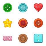Ícones ajustados, estilo do bordado dos desenhos animados ilustração stock
