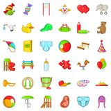 Ícones ajustados, estilo do brinquedo do bebê dos desenhos animados ilustração royalty free