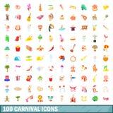 100 ícones ajustados, estilo do carnaval dos desenhos animados Fotos de Stock Royalty Free