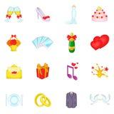 Ícones ajustados, estilo do casamento dos desenhos animados Fotos de Stock Royalty Free