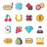 Ícones ajustados, estilo do casino dos desenhos animados Imagem de Stock