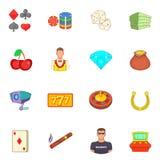 Ícones ajustados, estilo do casino dos desenhos animados Imagens de Stock Royalty Free