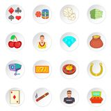Ícones ajustados, estilo do casino dos desenhos animados Imagens de Stock