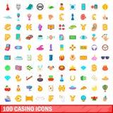 100 ícones ajustados, estilo do casino dos desenhos animados Imagem de Stock Royalty Free