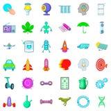 Ícones ajustados, estilo do cientista dos desenhos animados Imagens de Stock Royalty Free