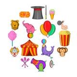 Ícones ajustados, estilo do circo dos desenhos animados Imagens de Stock Royalty Free