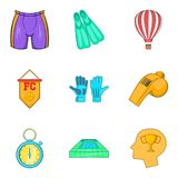 Ícones ajustados, estilo do clube do futebol dos desenhos animados Foto de Stock Royalty Free