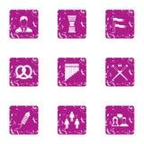 Ícones ajustados, estilo do comandante do escritório do grunge ilustração royalty free