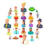 Ícones ajustados, estilo do companheiro dos desenhos animados ilustração stock