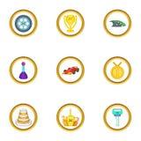 Ícones ajustados, estilo do competiam do carro dos desenhos animados Foto de Stock