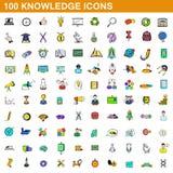 100 ícones ajustados, estilo do conhecimento dos desenhos animados Imagens de Stock Royalty Free
