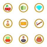Ícones ajustados, estilo do controle do casino dos desenhos animados Foto de Stock