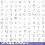 100 ícones ajustados, estilo do corporaçõ do esboço ilustração do vetor