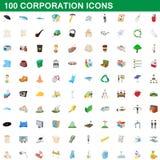 100 ícones ajustados, estilo do corporaçõ dos desenhos animados ilustração royalty free