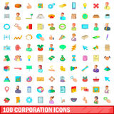 100 ícones ajustados, estilo do corporaçõ dos desenhos animados ilustração stock