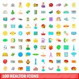 100 ícones ajustados, estilo do corretor de imóveis dos desenhos animados ilustração do vetor